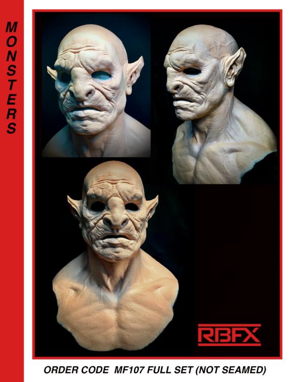 MF107 FULL SET (not seamed) - orc/ monster/ alien face, ears, cowl