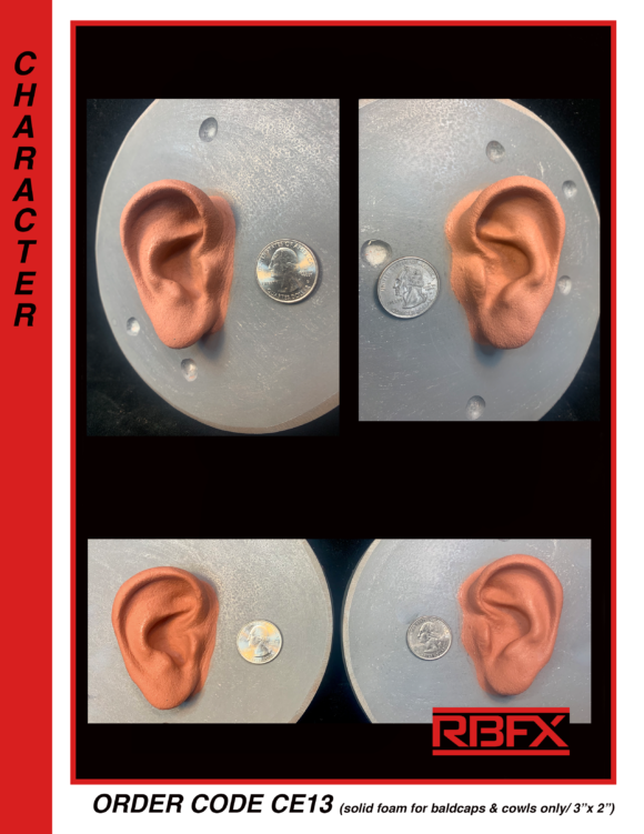 CE13 - Solid human ears for bald caps & cowls only